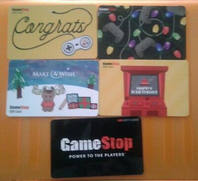 5 Game Stop Gift Cards, Birthday, Congrats, Christmas, Wish, Collectible, Mint