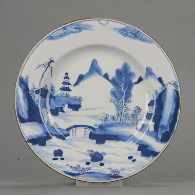 Lovely Chinese 18th C Yongzheng/ Kangxi Blue and White Plate Landscape [...