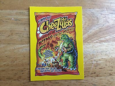2017 Wacky Packages 50Th Anniversary Yellow Sticker Godzilla Cheetos Munchies 5