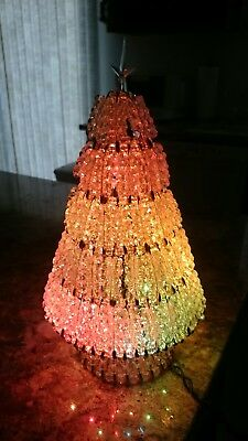"""Mint Vintage Gold Safety Pins Lit Multi Christmas Tree 8.5"""" Tall Clear Bead"""