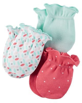 New Carter's Girls 3 Pack Baby Mittens 0-3 months NWT 100% Cotton Pink Hearts