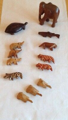 Wooden Treen Collection Hand Carved Animals - Tribal Art - Noah's Arc - Job Lot