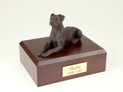 Doberman Bronze Pet Funeral Cremation Urn Avail in 3 Different Colors & 4 Sizes