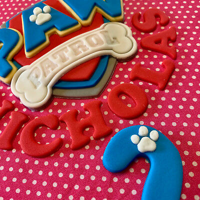 Edible PAW PATROL Birthday Set CAKE TOPPER Bagde Letters Age Number Logo Icing