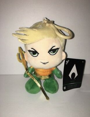 """DC Collectible Aquaman Plush Stuffed Toy with Clip 5"""" tall NWT"""