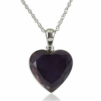 Sterling Silver Royal Purple Pendant Funeral Cremation Urn w/necklace