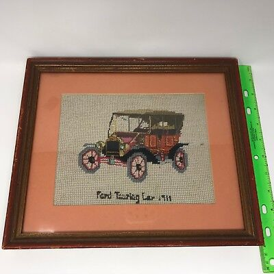 """Embroidered Frederick Elmiger Antique Car """"Ford Touring Car 1911"""" Needlepoint"""
