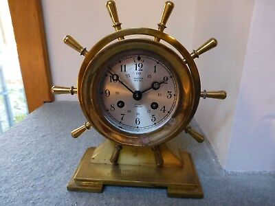 "working Salem brass spoked 8"" ship's bell clock + brochure + key"