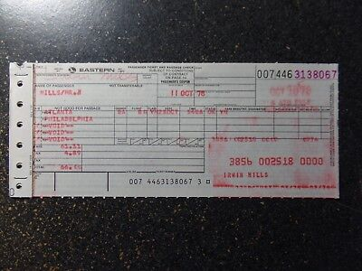 Eastern Airlines paper ticket  Rare 1974 with ticket jacket FREE Shipping to USA