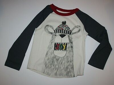 NEW Gymboree Boys Holiday Jolly Bear Graphic Tee Top 2T 3T Wearing Hat Says Joy
