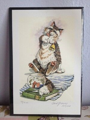 """ENID GROVES PRINT WHIMSICAL CAT LIMITED EDITION SIGNED ART Fishbowl """"Mmm"""""""