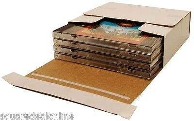 (25) CDBC04VDSS Cardboard CD Boxes Mailers Sturdy Self Sealing Holds 1-4 CDs