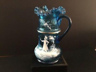 Antique Victorian Mary Gregory Art Glass Water Pitcher Blue