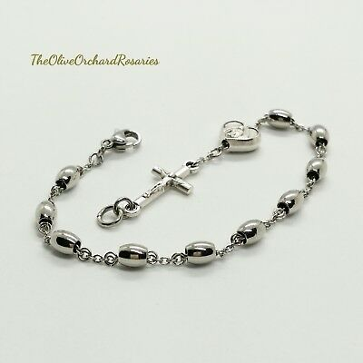 Women's Handmade Stainless Steel Beads Our Lady of Guadalupe Rosary Bracelet