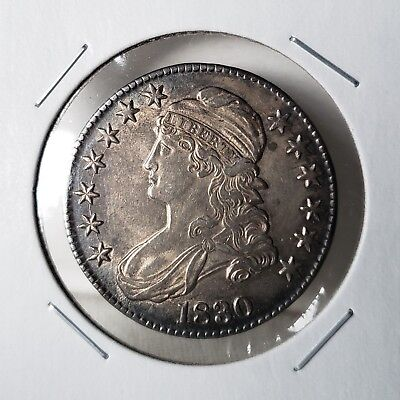 1830 Capped Bust Half Dollar - Small 0 - About Uncirculated - Tough This Nice