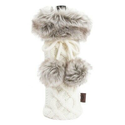 UGG Wine Bottle Holder in White Snow Faux Fur Gift Bag Cover Xmas Holiday c5c03f2a3a1eb