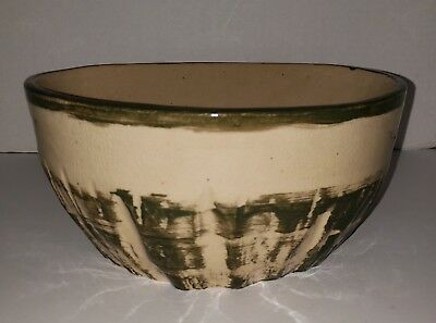 Vintage 1990 Greg Lauer Pottery Large Green Cream Ceramic Mixing Serving Bowl