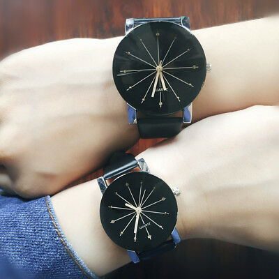 Hot Men Women Fashion Quartz Analog PU Leather Wrist Watch Couple Watches Gifts