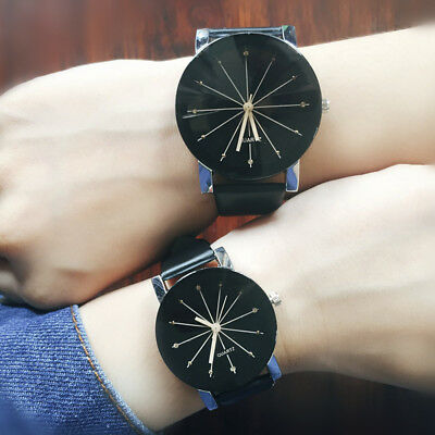 Men Women Couple Watches Fashion Quartz Analog PU Leather Wrist Watch Gifts