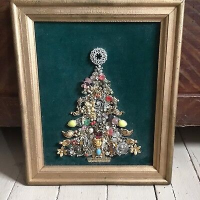 Vintage Jewelry Rhinestone Framed Christmas Tree 8x10 Pearl Gold