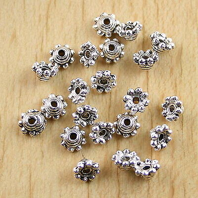 40pcs Tibetan silver crafted flower spacer beads H0128