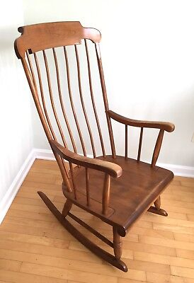 Vintage Nichols & Stone Rocking Chair, Bowed Back, Solid Wood, Maple? Rocker