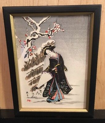 "VINTAGE Signed JAPANESE ORIGINAL Woodblock PAINTING ""GEISHA WITH UMBRELLA"""