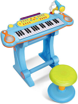 Gymax 37 Key Kids Electronic Keyboard Mini Piano Microphone And Stool Blue