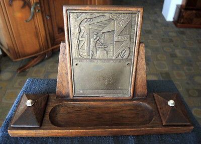 1940s? AUSTRALIAN FORGE & ENGINEERING PRESENTATION DESK STAND BLACKSMITH PLAQUE