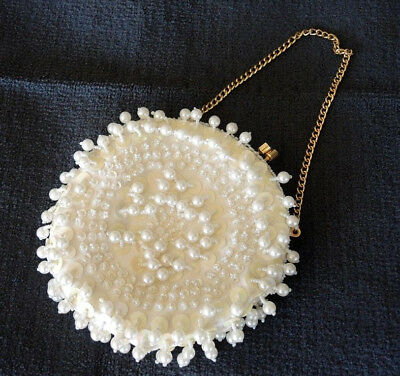 1970s? VINTAGE HAND MADE IN HONG KONG FAUX PEARL BEAD & SEQUIN EVENING BAG #2