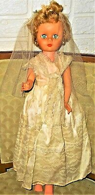 """Pretty 1950 Eegee Marked Bride Doll 24"""" Tall Blond Blue Sleep Eyes No Shoes SALE"""