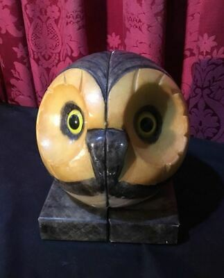 Pair Of Vintage Antique Carved Marble / Alabaster Glass Eyed Owl Head Bookends