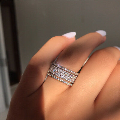 Eternity Promise ring 925 Silver five layers cz Wedding Band Rings for women men
