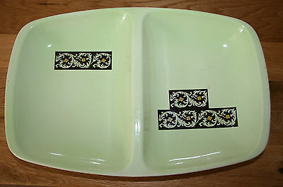 Vintage Carlton Ware Divided Dish - Tapestry Patt - Lime Green & Chocolate 1960s