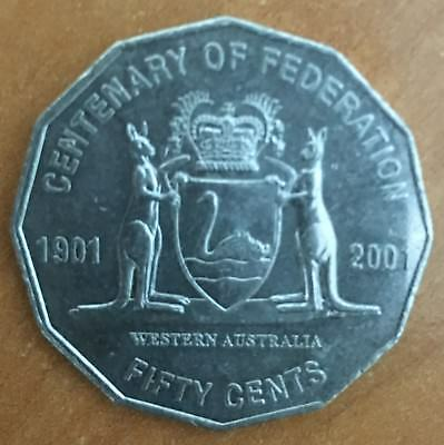 2001 Circulated 50c Coin Centenary of Federation.  WA