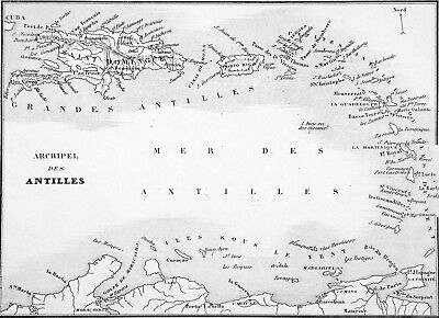 MAP of the ARCHIPELAGO of the ANTILLES - Engraving from 19th century