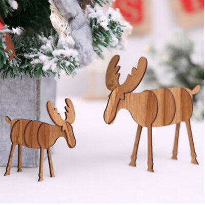 Wood Crafts Christmas Decoration Elk Decor DIY Xmas Ornaments 8C