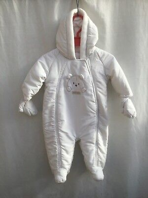 d3a60a11b6de MOTHERCARE BABY BOYS White Padded All In One Pram Suit With Mitts ...