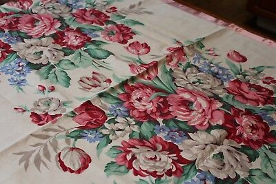 Vintage 2 Flowered Chintz Curtain Panels 36x82 Satin Edge Pocket for Hanging