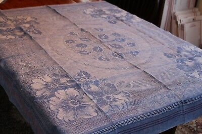 Vintage Linen Damask Plaid Tablecloth Blue w Red Daisies Leaves 48x50