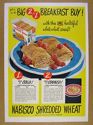 1949 Nabisco Shredded Wheat cereal box bowl color art vintage print Ad