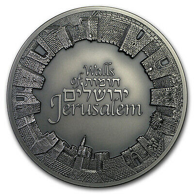2018 Israel 3 oz Silver Walls of Jerusalem Antique Finish - SKU#179427