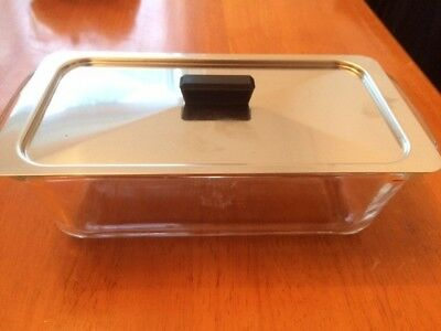 Pyrex glass dish and lid for use in hostess trolley Ekco Phillips