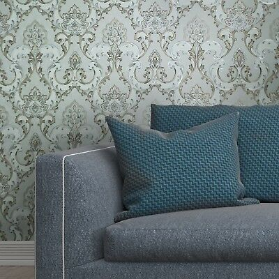 Pastel Gray Gold Silver Metallic textured Wallpaper rolls Victorian Damask 3D
