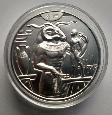 Egyptian Gods Series Khnum Ultra High Relief 2 oz .999 Silver Round In Capsule