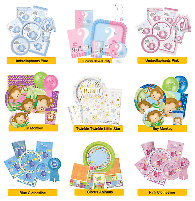 BABY SHOWER PARTY RANGES - New Baby Tableware Balloons Banners & Decorations(1C)