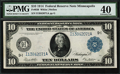 1914 $10 Federal Reserve Note - Minneapolis - FR-939 - PMG 40 - Extremely Fine