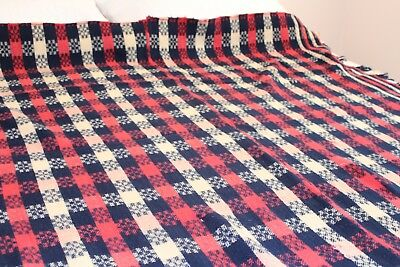 Vintage Woven Wool Coverlet 66x72