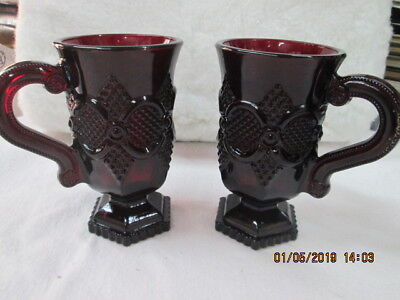 1876 Cape Cod Ruby Red Glass Set Of 2 Pedestal Mugs NEW w/o BOX.  NEVER USED