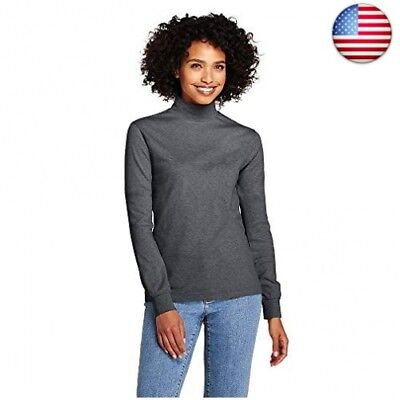 68e7ad3f Lands' End Women's Petite Relaxed Cotton Mock Turtleneck, M, Charcoal  Heather